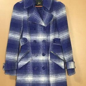 Jack Women's Blue Plaid Pea Coat Size Small